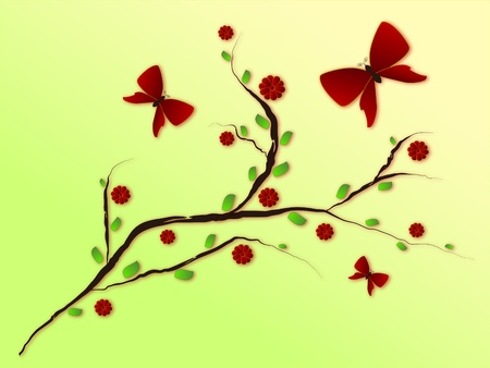 flowering branch with butterfly Vector