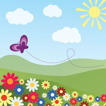 Colorful pastoral landscape with a butterfly  Vector