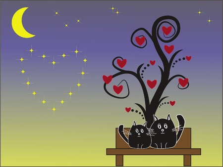 Cats under the tree  Vector