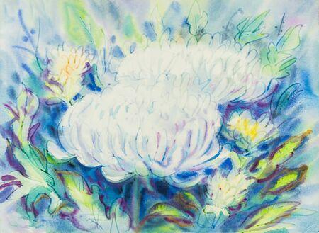 Pintura Acuarela Abstracta Original Color Púrpura, Rosa De Flores De ...