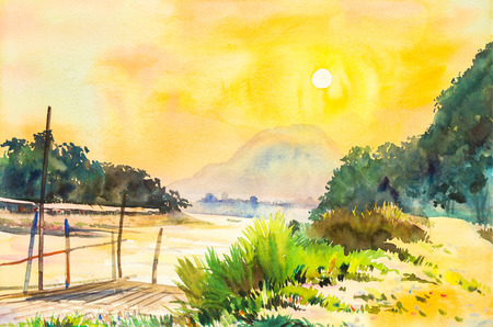 watercolor lanscape painting yellow, orange color of sunset in sky and cloud background original painting. Stock Photo