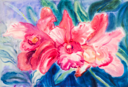 Flower original watercolor painting red color of orchid flower and green leaf and blue  background Stock Photo