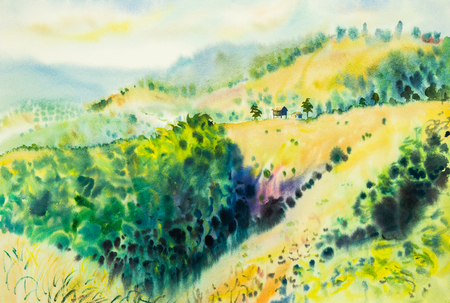 watercolor original landscape painting yellow color of  mountain in sky and cloud background