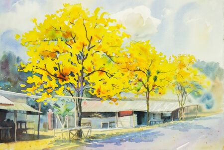 roadside: watercolor painting yellow, orange color of golden tree flowers at roadside in sky and cloud background original painting.