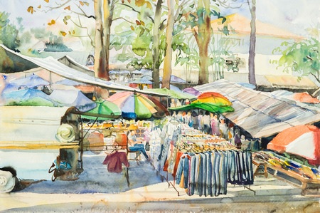 locals: watercolor original landscape painting of  locals market in rural scene and cloud background.
