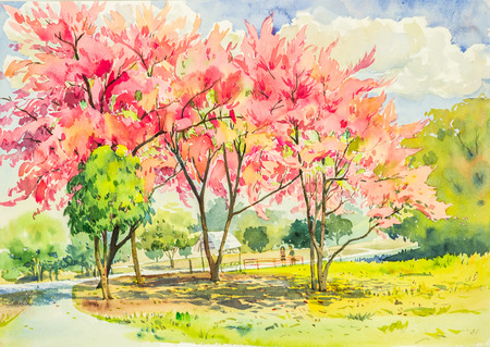 Watercolor original landscape painting pink color of wild himalayan cherry tree flowers in sky and cloud background