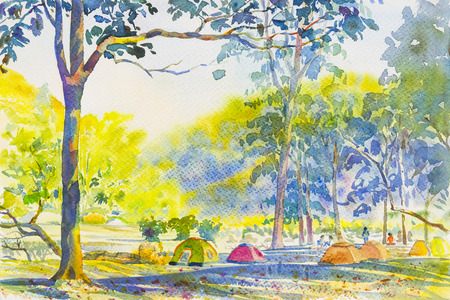 summery: Watercolor original landscape painting colorful  mountain of Camping overnight and emotion in sky background.