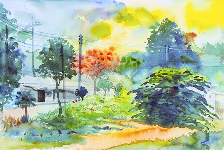 Watercolor original landscape painting colorful of green tree and emotion in blue background. Stock Photo