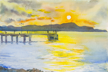 country side: Watercolor original seascape painting sunset colorful of mountain and emotion in orange cloud background. Stock Photo
