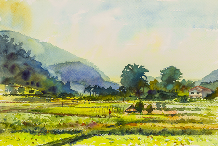 Watercolor original landscape painting colorful of mountain and emotion in cloud background.