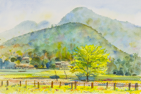 Watercolor original landscape painting colorful of mountain and emotion in blue background.