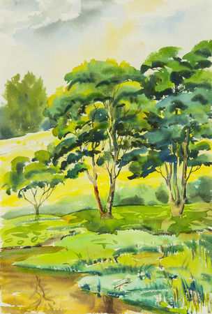 Watercolor landscape painting colorful of  Trees along the pond  in emotion and blue background .Original painting.