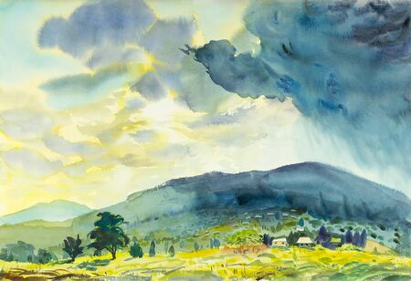 Watercolor landscape original painting colorful of Sunny rain and emotion in blue mountain background. Stock Photo