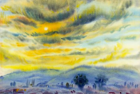 mountain sunset: Watercolor landscape original painting colorful of sunset in cloud  and emotion in blue mountain background.