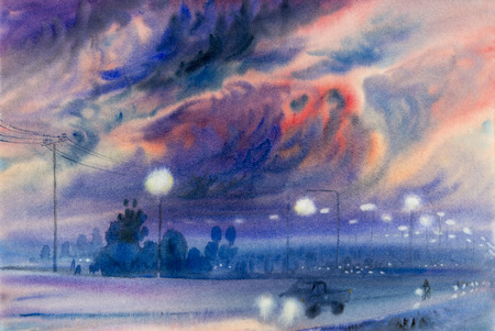 evening sky: Watercolor landscape original painting colorful of evening sky and emotion in cloud  background. Stock Photo