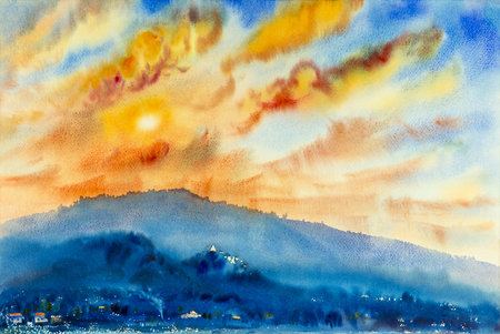 Watercolor landscape original painting colorful of mountain and emotion in sunset cloud background.