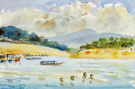 Watercolor landscape original painting colorful of mountain river and emotion in blue background.