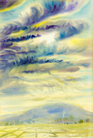 cornfield: Watercolor landscape original painting colorful of raincloud and emotion in blue mountain background.