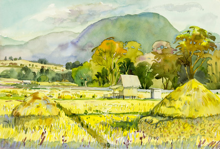 cornfield: Watercolor landscape original painting colorful of cornfield and emotion in blue mountain background.