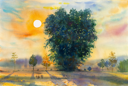 cornfield: Watercolor landscape original painting colorful of evening sunset  and emotion in blue background. Stock Photo