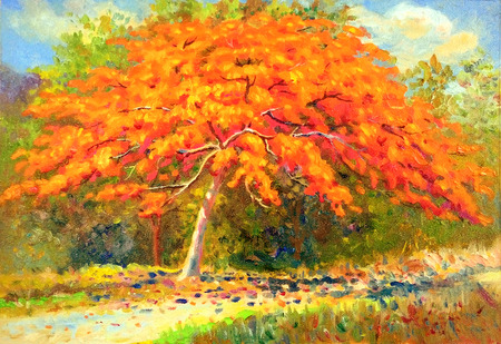 Painting oil color landscape original colorful of peacock flower tree and emotion in red with cloud in the sky background. Stock Photo