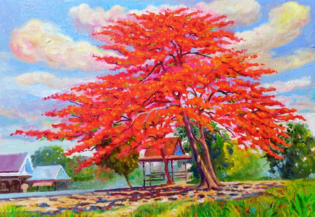 Painting oil color landscape original colorful of peacock flower tree and emotion in blue with cloud in the sky background.