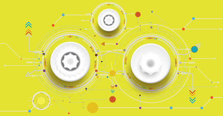 computer network diagram: Vector illustration colorful and gear wheel on circuit board, Hi-tech digital technology and engineering, digital telecoms technology concept, Abstract futuristic- technology on yellow  color background