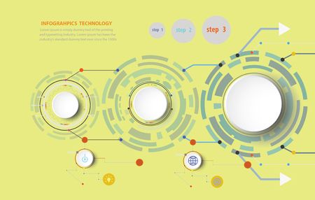 Infographics vector illustration and gear wheel on circuit board with icon, Hi-tech digital technology and engineering, digital telecoms technology concept, Abstract futuristic- technology. Illustration