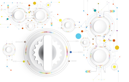 Vector illustration Hi-tech digital technology design colorful on circuit board and gear wheel engineering, digital telecoms technology concept, Abstract futuristic- technology on white color background