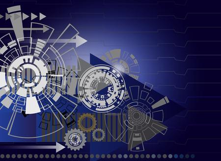 High-Teche Digitaltechnik und Technik mit Gangrad auf Leiterplatte, digitales Telekommunikationstechnologiekonzept, abstrakte futuristische Technologie auf blauem Farbhintergrund, Vektorillustration bunt.