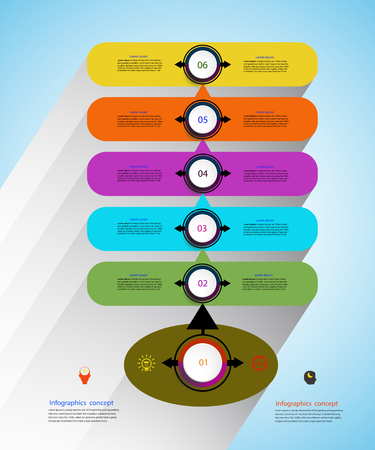 Vector infographics timeline design template for business concept and icons. Can be used for workflow layout, diagram, number options, step up options, web design,Business concept, presentations with 6 steps options. Illustration