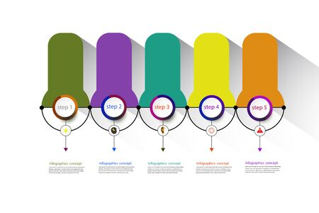 Vector infographics timeline design template for business concept and icons. Can be used for workflow layout, diagram, number options, step up options, web design, presentations with 5 steps options.
