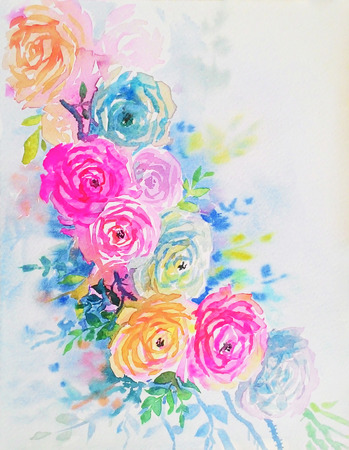 Watercolor original painting colorful of rose pattern for greeting card and emotion in white background