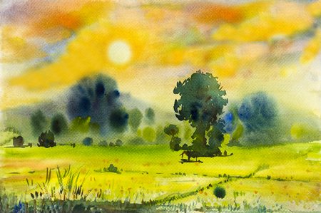 Watercolor landscape original painting colorful of rice field in countryside and emotion in sunset mountain and emotion in cloud background Stock Photo