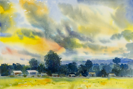 Watercolor landscape original painting colorful of Fields mountain evening and emotion in cloud background