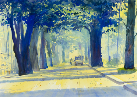 watercolour painting: Watercolor landscape original painting colorful of Tunnel of Trees in countryside and emotion in atmosphere blue background.