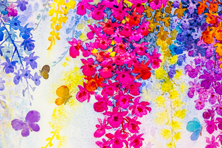 winter garden: Abstract watercolor original landscape painting imagination colorful of beauty orchid flowers with butterfles and emotion in blue background. Stock Photo