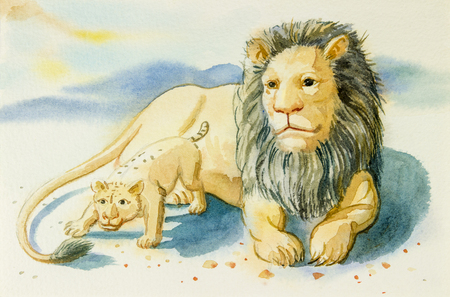Watercolor painting illustration lovely  cartoon  of  lion and baby in mountain background Stock Photo