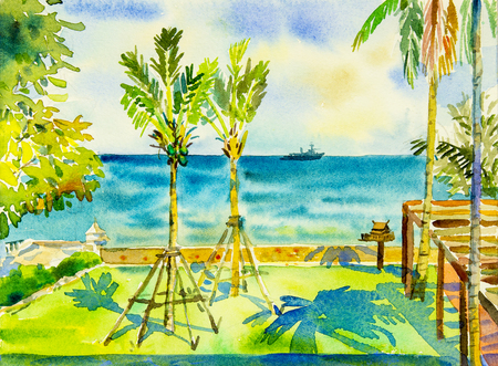 Watercolor painting original seascape colorful of sea and green garden  and emotion in blue background.