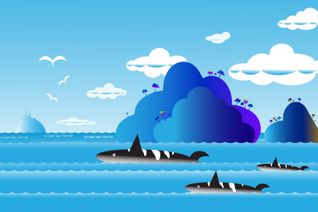 horizon over water: Vector illustration seascape background over sea with the whale family in water wave between archipelago, Blue color with fishes and the bird flying in sky cloud background at summer time.