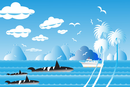 Vector illustration seascape background travel over sea with the whale family in water wave between archipelago, Blue color with fishes and the bird flying in sky cloud background at summer time. Illustration