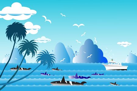 horizon over water: Vector illustration seascape background travel over sea with the whale family in water wave between archipelago, Blue color with fishes and the bird flying in sky cloud background at summer time. Illustration
