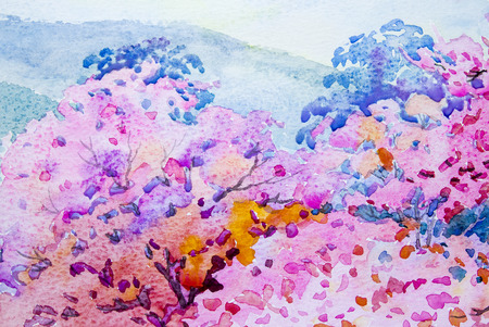 pink hills: Painting  landscape watercolor original  colorful of wild  himalayan cherry on the beautyful mountain rang and emotion in blue sky background Stock Photo