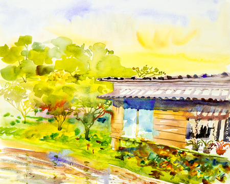 Watercolor painting original landscape  colorful  of the riverside wooden homestay with greentree and sky cloud background.