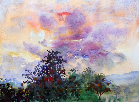 Watercolor landscape original painting colorful of cloud in the sky and emotion in sunset background Stock Photo
