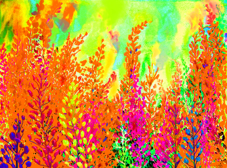 watercolour: Watercolor painting colorful of abstract flowers and green leaves in white background.