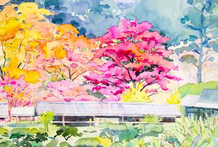 Watercolor landscape original painting colorful of  wild himalayan cherry flowers on the mountain with human in wooden house at cottage country