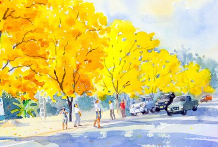 watercolour: Watercolor painting original landscape yellow, orange color of golden tree flowers with the tourist  in sky and cloud background