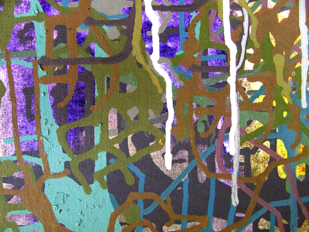 describe: Abstract art background. Acrylic color painting on canvas. Multicolored bright texture. Fragment of artwork. The flow of color and acrylic.. Modern art. Contemporary art.