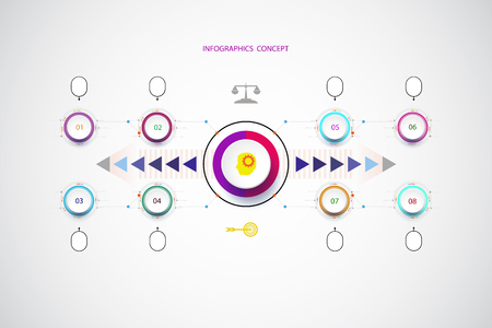 Vector infographic template with number 8 step, integrated circles. Business concept with options. For content, diagram, flowchart, steps, parts, timeline infographics, workflow layout, chart,Vector illustration Illustration